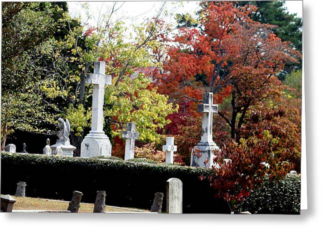 Greeting Card featuring the photograph Quad Crosses In Fall by Lesa Fine