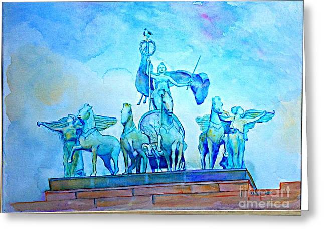 Quadriga Above The Arch At Grand Army Plaza Greeting Card
