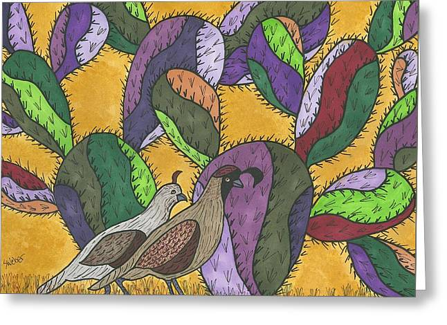 Quail And Prickly Pear Cactus Greeting Card