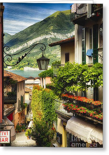 Quaint Bellagio Street View Greeting Card by George Oze