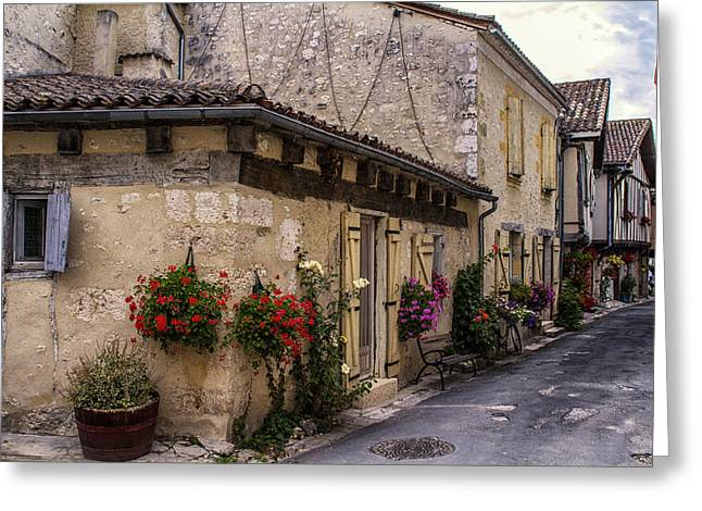 Quaint French Street In Issigeac Greeting Card by Georgia Fowler
