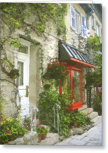 Quaint Street Scene Quebec City Greeting Card by Ann Powell