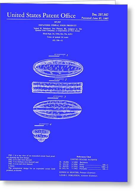 Quaker Oats Cereal Food Patent 1967 Greeting Card by Mountain Dreams