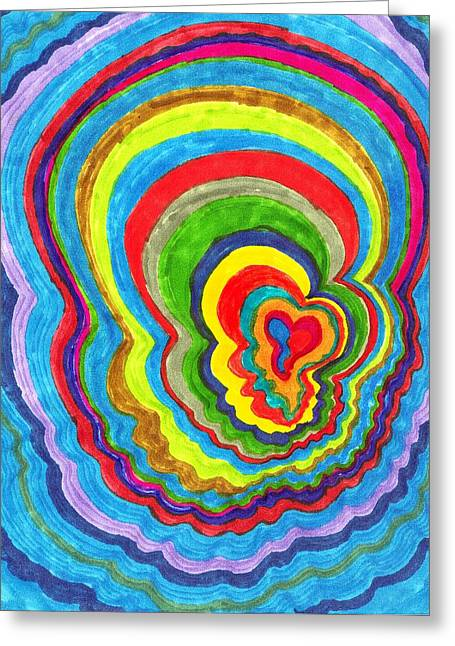 Quakey Breakie Heart Greeting Card by Brenda Adams