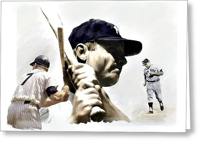 Quality Of Greatness Mickey Mantle Greeting Card by Iconic Images Art Gallery David Pucciarelli