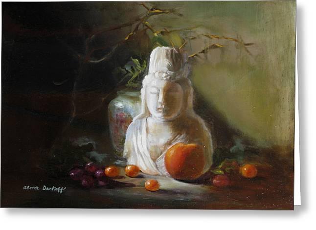Quan Yin With Cumquats Greeting Card by Alma Dankoff