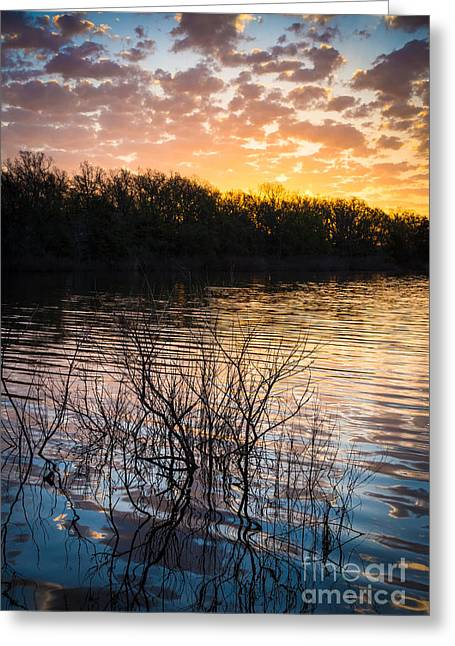 Quanah Parker Lake Sunrise Greeting Card by Inge Johnsson