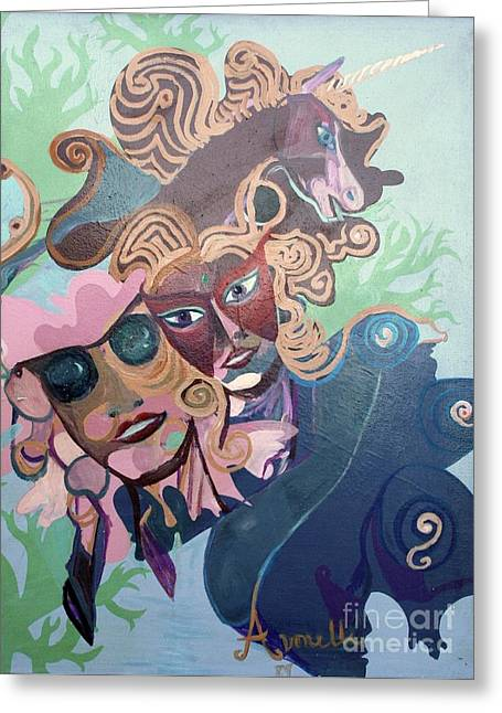 Greeting Card featuring the painting Quantum Theory by Avonelle Kelsey