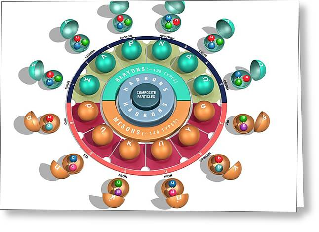 Quark Model Of Particle Physics Greeting Card by Carlos Clarivan