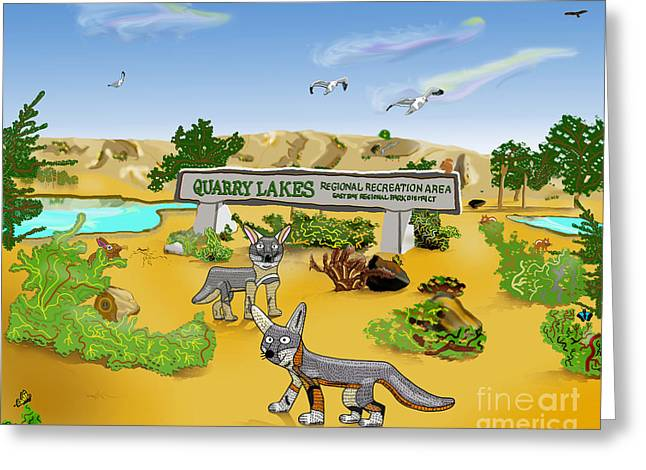 Quarry Lakes And Gray Foxes Greeting Card