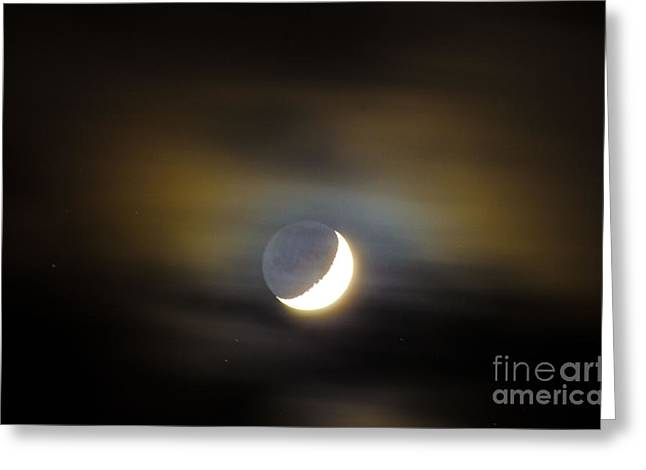 Quarter Moon Greeting Card by Judy Wolinsky