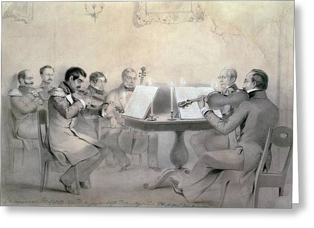 Quartet Of The Composer Count A. F. Lvov, 1840 Pencil On Paper Greeting Card by R. Rorbach
