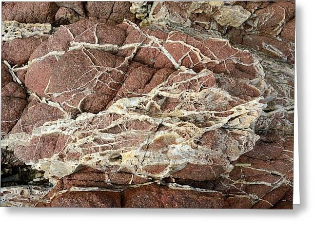Quartz Veins In Rhyolite Rock Greeting Card