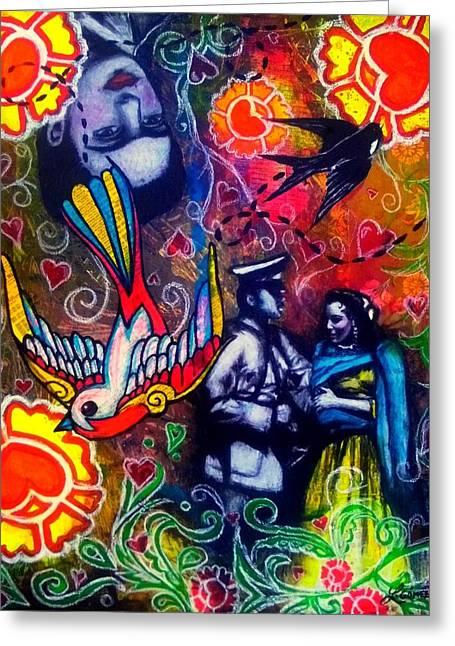 Que Tiempos Aquellos - Art By Laura Gomez Greeting Card by Laura  Gomez