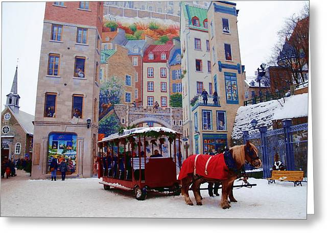 Quebec City Holiday Greeting Card by Jacqueline M Lewis