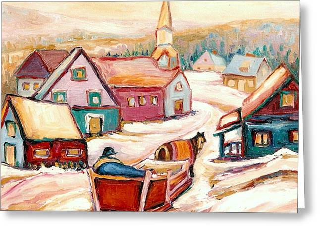 Quebec City Street Scene Caleche Ride In The Village Greeting Card