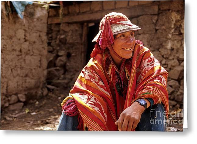 Quechua Man Sacred Valley Peru Greeting Card by Ryan Fox