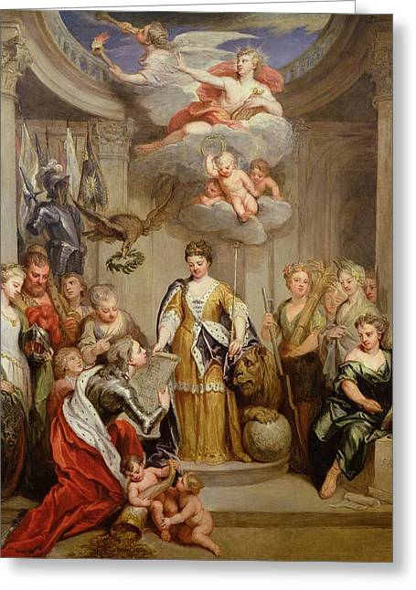 Queen Anne Presenting Plans Of Blenheim To Military Merit Oil On Canvas Greeting Card by Sir Godfrey Kneller
