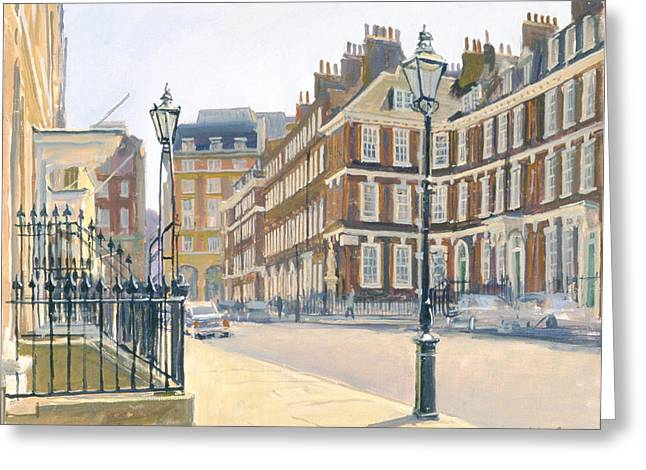 Queen Annes Gate Oil On Canvas Greeting Card by Julian Barrow
