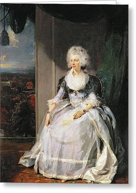 Queen Charlotte, 1789-90, Wife Of George IIi Oil On Canvas Greeting Card