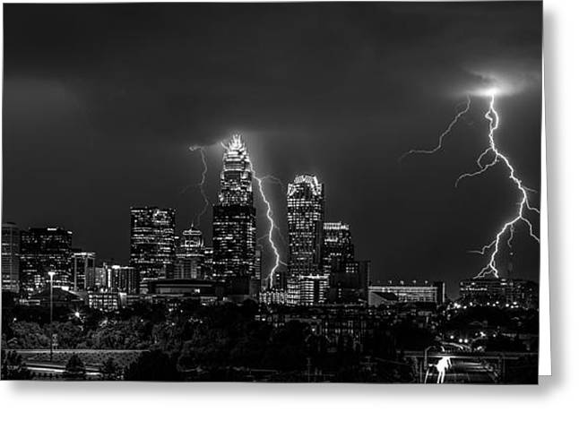 Queen City Strike B/w Greeting Card by Chris Austin
