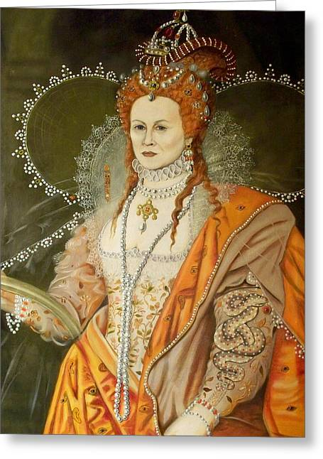 Self Portrait As Queen Elizabeth After Oliver Greeting Card by RB McGrath