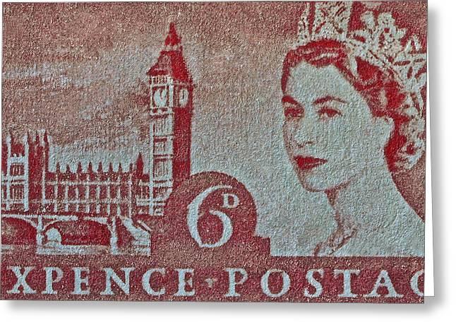 Queen Elizabeth II Big Ben Stamp Greeting Card by Bill Owen