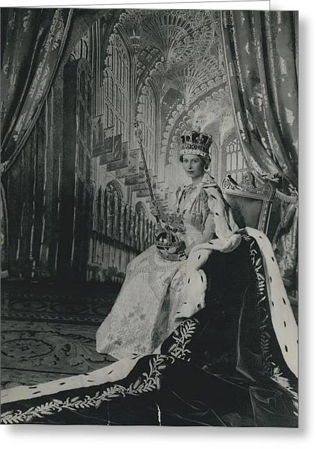 Queen Elizabeth II�in Throne Room Of Buckingham Palace After Her Coronation� Greeting Card by Retro Images Archive