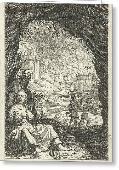 Queen Hidden In A Cave, Willem Basse, Jacob Lescailje Greeting Card by Willem Basse And Jacob Lescailje
