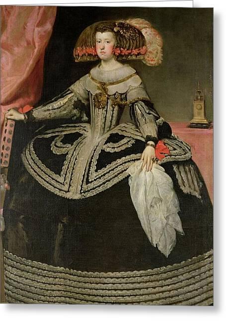 Queen Maria Anna Of Austria 1634-96, C. 1652 Oil On Canvas Greeting Card by Diego Rodriguez de Silva y Velazquez