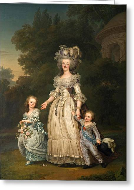 Queen Marie Antoinette Of France And Two Of Her Children Walking In The Park Of Trianon Greeting Card by Adolf Ulrik Wertmueller
