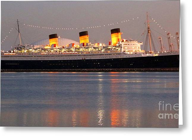 Queen Mary At Night Greeting Card
