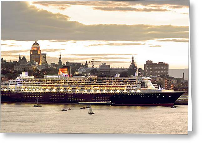 Queen Mary II Cruise Ship, Chateau Greeting Card by Jean Desy