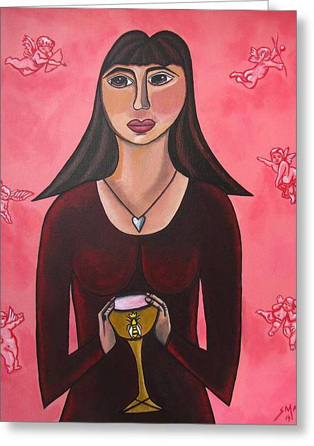 Queen Mary Magdalene - Grail Secrets Greeting Card by Sandra Marie Adams