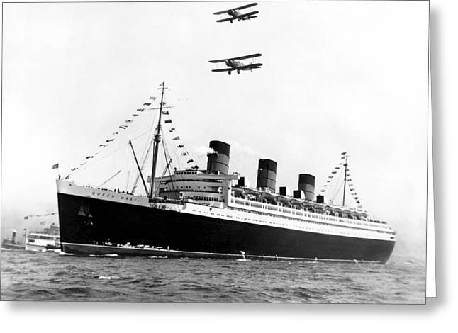 Queen Mary Maiden Voyage Greeting Card by Underwood Archives