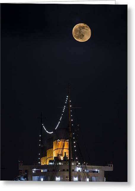 Queen Mary Stacks And The Moon By Denise Dube Greeting Card by Denise Dube