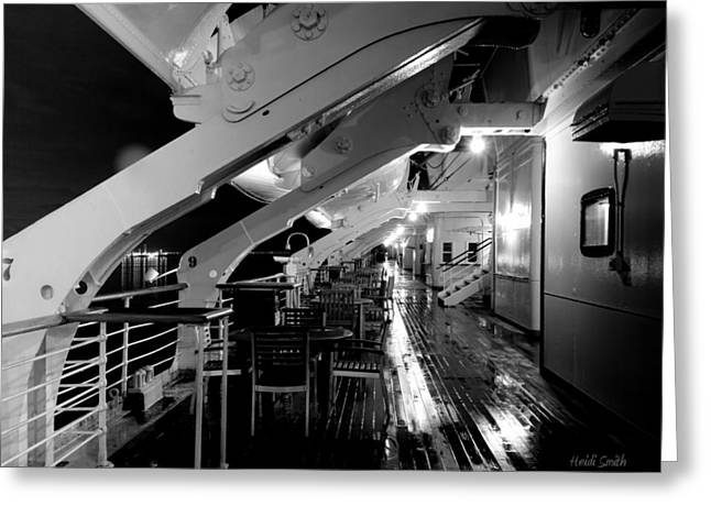 Queen Mary Sun Deck Black And White Greeting Card by Heidi Smith