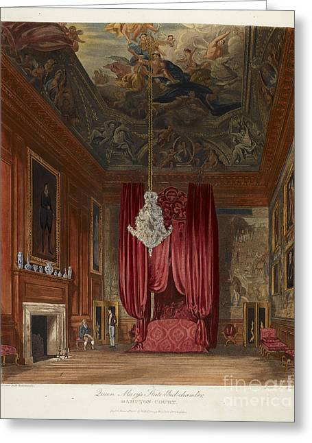 Queen Mary's Bed Chamber, Hampton Court Greeting Card by British Library