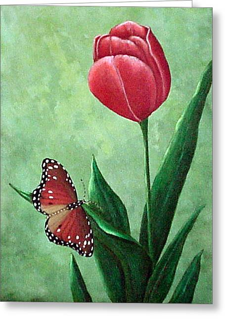 Queen Monarch And Red Tulip Greeting Card