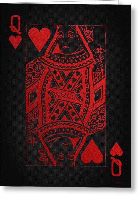 Queen Of Hearts In Red On Black Canvas   Greeting Card by Serge Averbukh