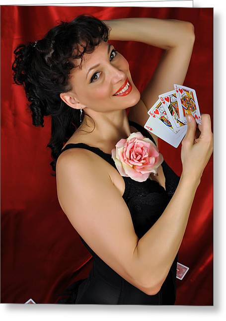 Queen Of Hearts Greeting Card by Jim Poulos