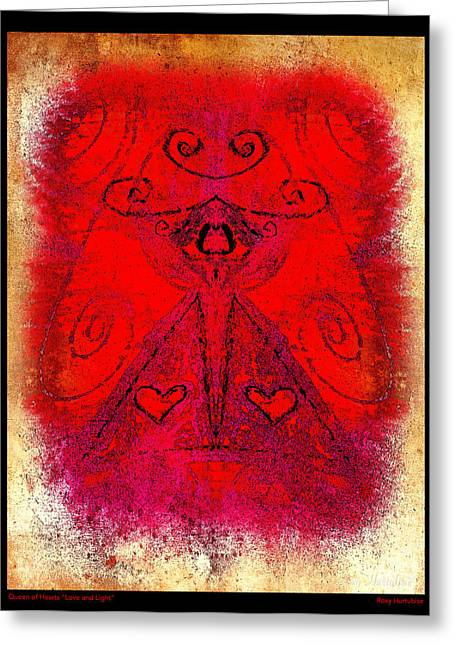 Queen Of Hearts Love And Light Greeting Card