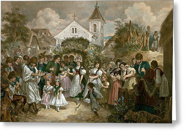 Queen Of Pentecost, Hungary, 19th Century, Village Party Greeting Card