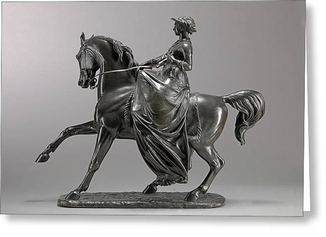 Queen Victoria On Horseback Incised On Front Edge Art,- Greeting Card