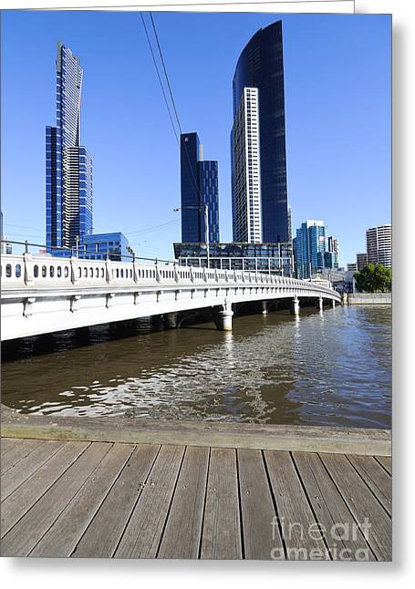 Queens Bridge - Yarra River And Skyscrapers - Melbourne - Australia Greeting Card by David Hill