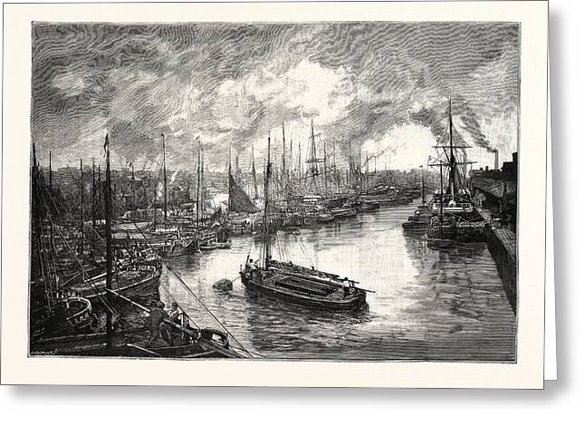 Queens Dock, Hull. The Port Of Hull Is A Trading Port Greeting Card by English School