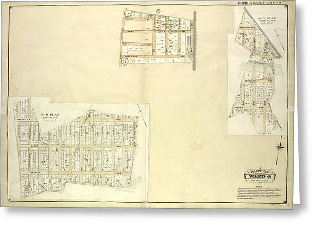 Queens, Vol. 1, Double Page Plate No. 22 Part Of Ward 4 Map Greeting Card