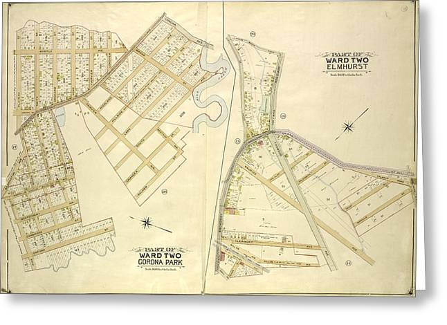 Queens, Vol. 2, Part Of Ward Two Corona Park Map Bounded Greeting Card