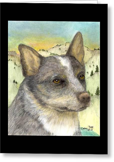 Queensland Blue Heeler Dog Animal Art Greeting Card