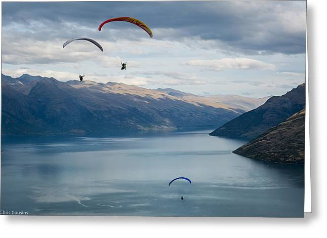 Queenstown Paragliders Greeting Card